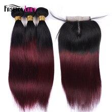 Moda bayan ön renkli Ombre brezilya saçı dantel kapatma ile 3 demetleri 1B/ 99J düz örgü insan saç demeti paketi olmayan remy