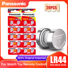 20PCS Panasonic LR44 LR 44 A76 AG13 1.5V Célula Botão G13A LR44 LR1154 SR1154 357A SR44 SR44SW SR44W GP76 Relógio Relógio de Brinquedo Da Bateria