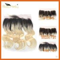 Spitze Frontal Ombre 1b Blonde Mittleren und Freien Teil Schweizer Spitze Vorne Ross Hübsche Brasilianische Haar Körper Welle Farbe 1b /613