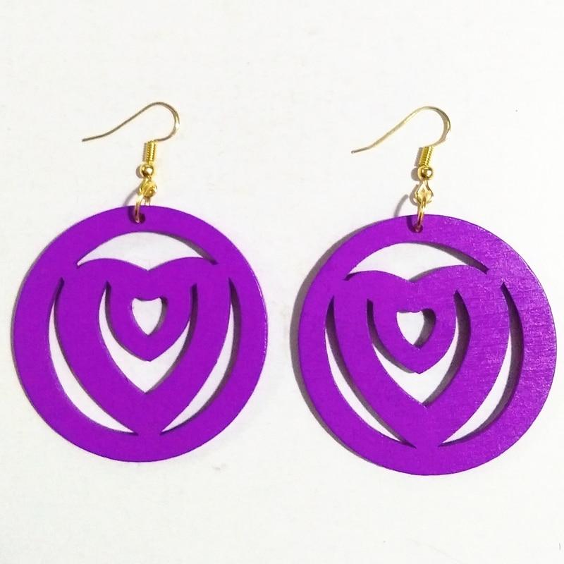Purple Wood Heart Earrings Women Drop Earrings Round Hollow