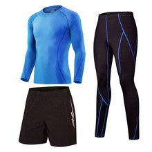 Men's Tracksuit Sports 3pcs/set Suit Gym Fitness Compression Clothes Running Jogging Sport Wear Exercise Workout Tights
