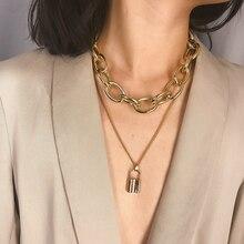 SRCOI большой двухъярусный кулон замок ожерелье-чокер винтажный воротник в стиле панк модное массивное ожерелье в виде амулета для женщин