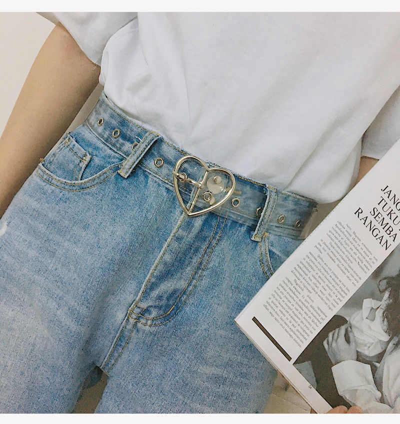 Paski ze sprzączką w kształcie serca dla kobiet przezroczysty pasek Love Heart Jeans sukienka z paskiem wokół talii srebrna złota przypinka klamra damska przezroczysty pasek