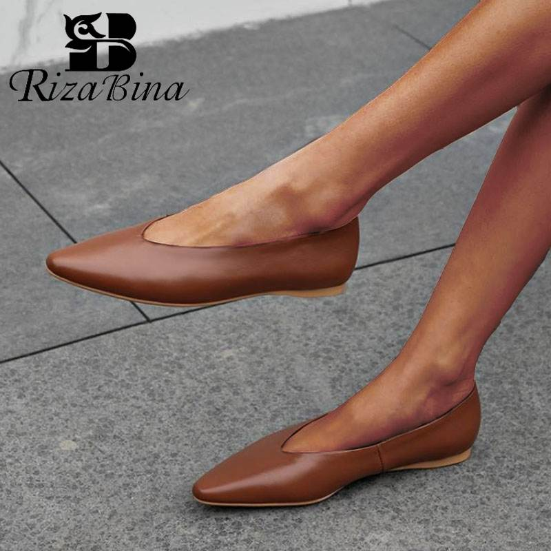 RIZABINA Women Flats Shoes Genuine Leather Pointed Toe 2020 New Spring Shoes Women Soft Comfort Pregnant Footwear Size 33-40