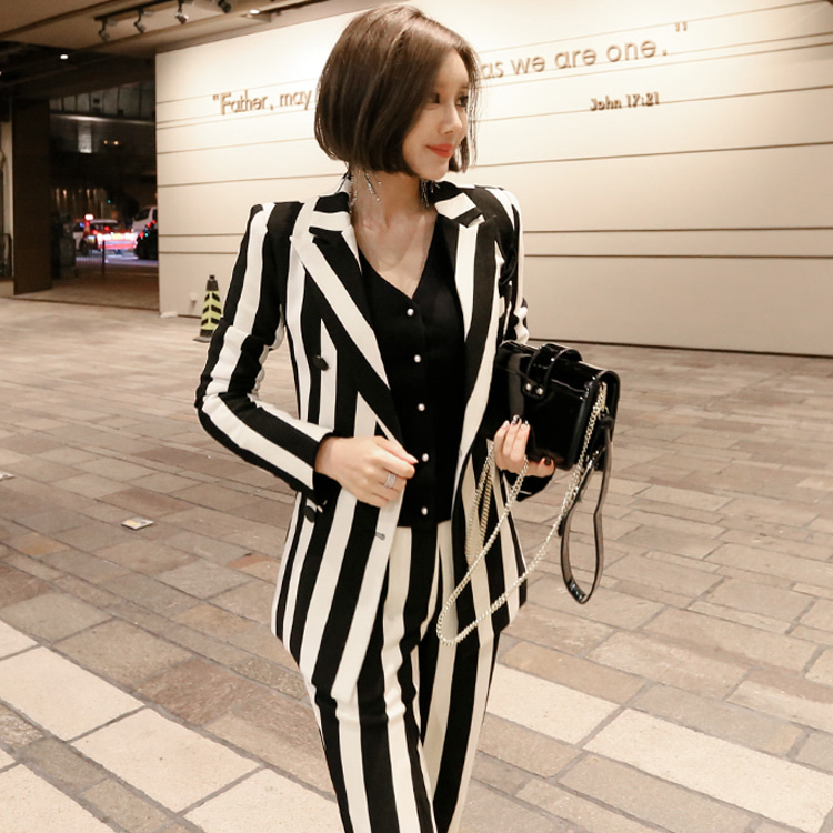 High Quality 2019 Winter Women Suit Office Lady Striped Two Piece Pant Set Formal Double-breasted Coat+OL Work Pant Suits