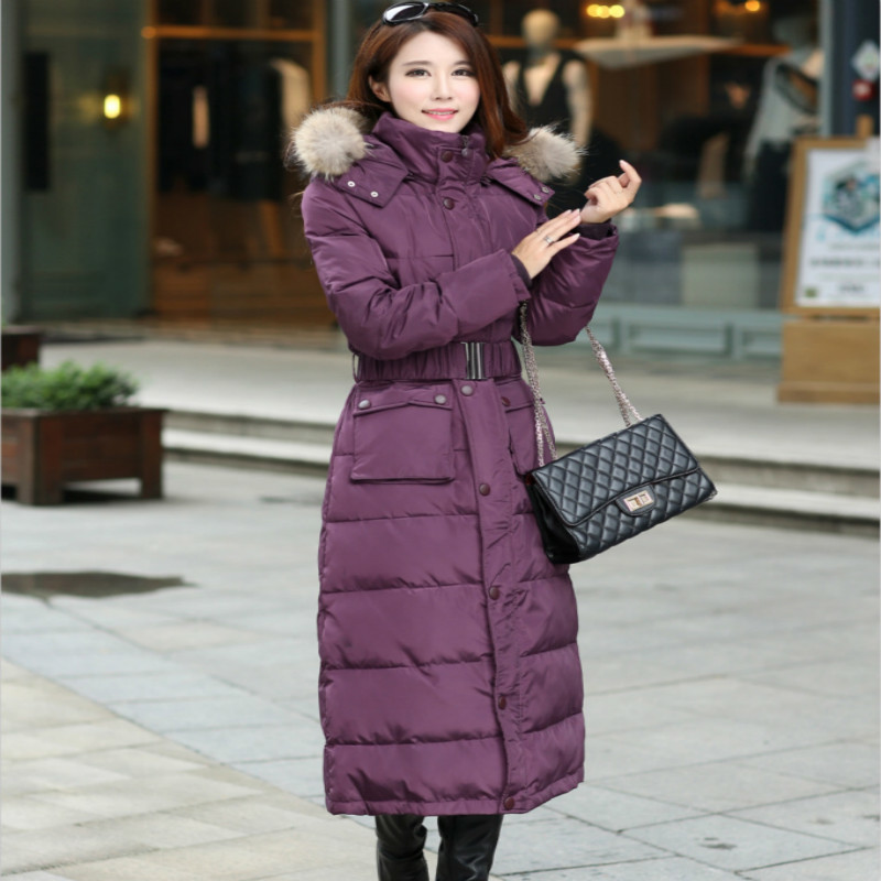 Thick Warm White Duck Down Jacket Women 2019 New Long Coat Female Real Fur Collar Clothes Tops Abrigo Mujer 201533LW724
