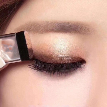 Lazy Eye shadow Palette Korean Style Cosmetics Matte Shimmer Two Color Eyeshadow Stamp Palette With Brush Nude Makeup Set double color women s fashion lazy shadow eyeshadow makeup palette pigment waterproof shimmer eye makeup cosmetics