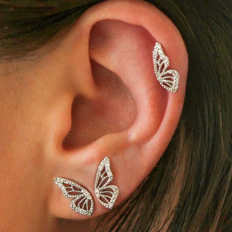 New Gold Rose Gold Color Rhinestone Butterfly Wing Stud Earrings For Women Cute Small Crystal Stud Earring