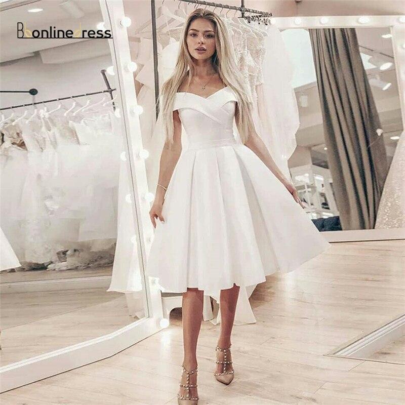 Новое поступление, элегантные белые платья для выпускного вечера, атласное короткое вечернее платье с открытыми плечами, длиной до колена,