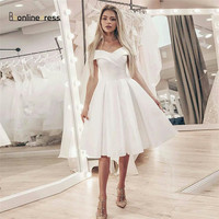 New Listing Elegant White Homecoming Dresses Satin Off The Shoulder Short Party Dress Knee Length Formal Gowns Homecoming Dress