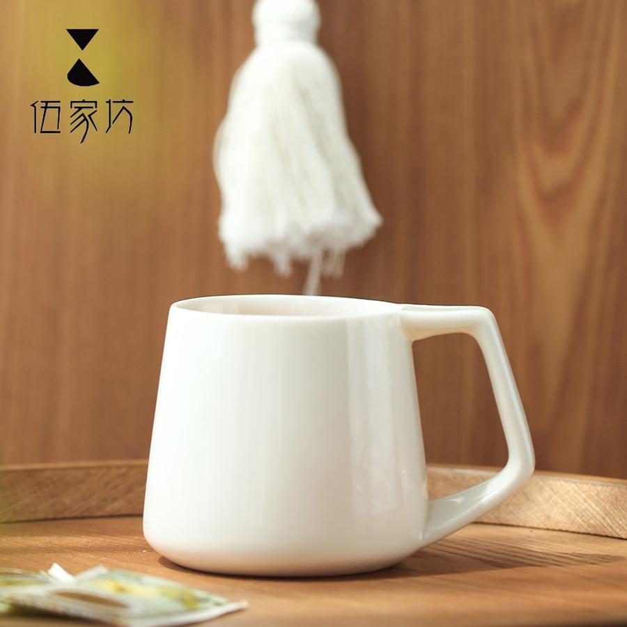 Haferflocken Frühstück Tasse Keramik Becher mit Löffel Japanischen Stil Keramik Becher Plain Weiß Kaffee Becher Handgemachte Tassen Keramik HH50MK - 3