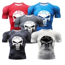 New Rashgard Men Gym Fitness Sport T-shirt 3D Printed Long Sleeve Compression Tights Running Shirt Punisher Workout Training Top