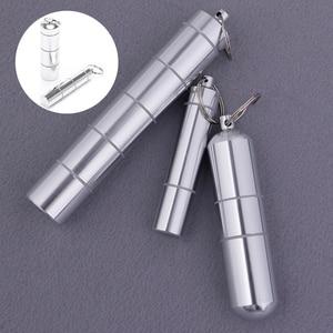 Image 2 - 알 약 상자 캡슐 모양 알루미늄 알 약 케이스 키 체인 야외 포켓 알 약 홀더 컨테이너 섬세 한 의학 상자