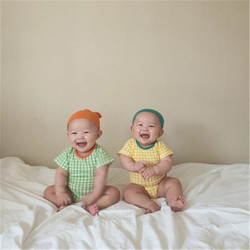 7plus1baby Girls Plaid Romper+hat Sets Toddler Boys Summer Short Sleeve Fashion Jumpsuits
