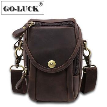 Multi-functions 7' Mobile Phone Pouch Bag Genuine Leather Men Bum Hip Belt Cross Waist Pack Men's Mini Shoulder Bags