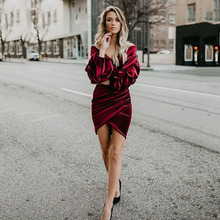 цена на Eightree Velvet Dress Autumn Sexy Evening Dress Long Sleeves Deep V Neck Bodycon Dresses Plus Size Elegant Lantern Prom Dress