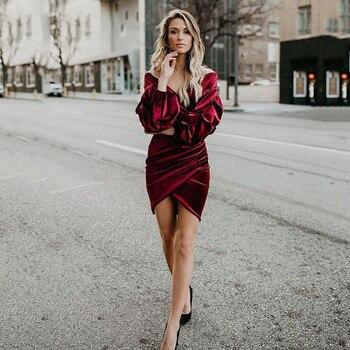 Eightree Velvet Dress Autumn Sexy Evening Dress Long Sleeves Deep V Neck Bodycon Dresses Plus Size Elegant Lantern Prom Dress