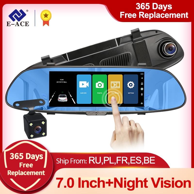 E-ACE 7,0 дюймовый автомобильный видеорегистратор с зеркалом заднего вида, сенсорный видеорегистратор, Автомобильный видеорегистратор 1080P, дв...