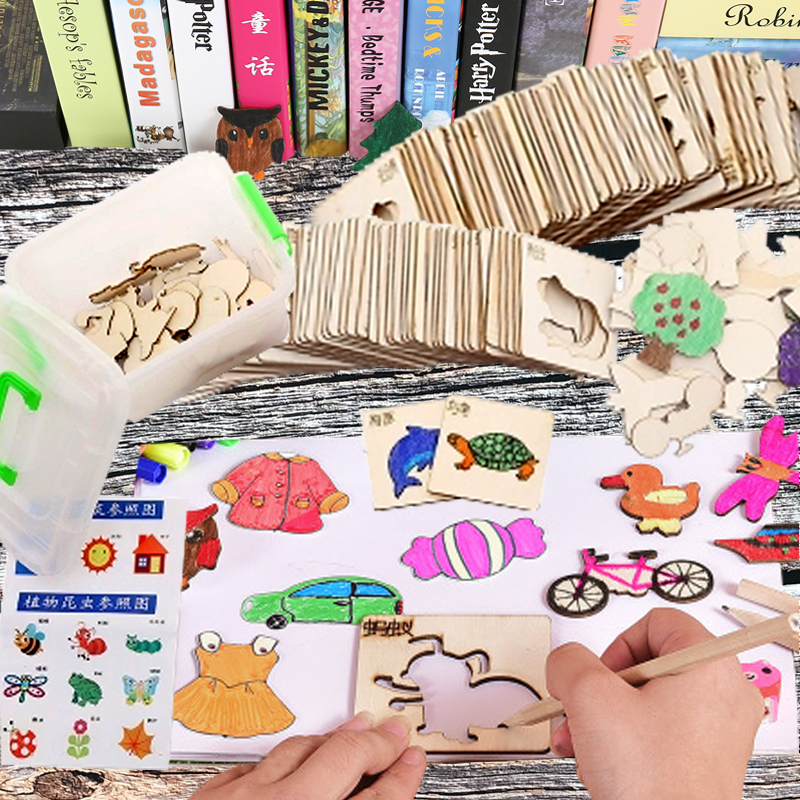 Kids Wooden Graffiti Templates Painting Art Tools Set  For Children's Creativity Kindergarten Sketching Drawing Children Learn