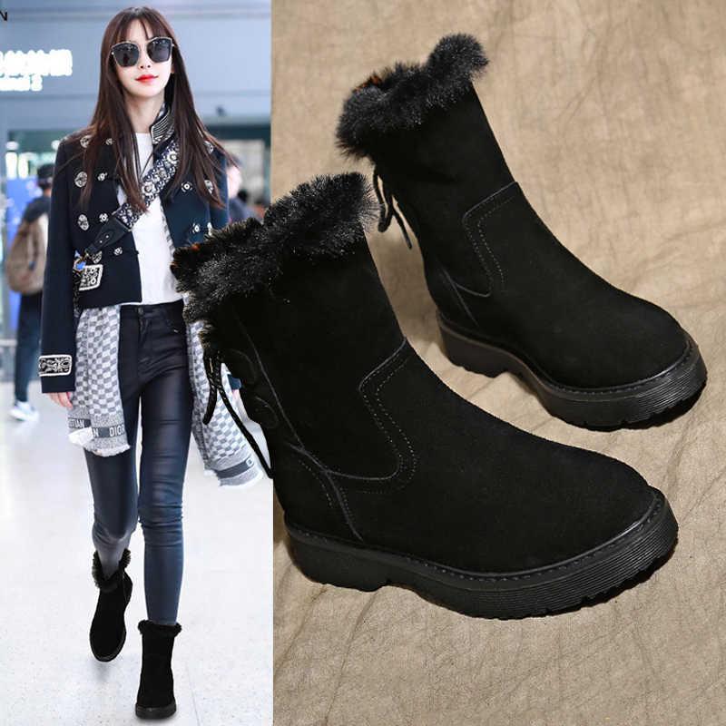 Kadın kar botları kadın 2019 yeni peluş İç sıcak bileğe kadar bot kalın taban öğrenciler sıcak pamuklu ayakkabılar hakiki Cony saç gri siyah