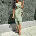 Glamaker Satin eine schulter grün kleid frauen Sexy sleeveless gefaltetes asymmetrische lange kleid Weibliche elegante verband party kleid