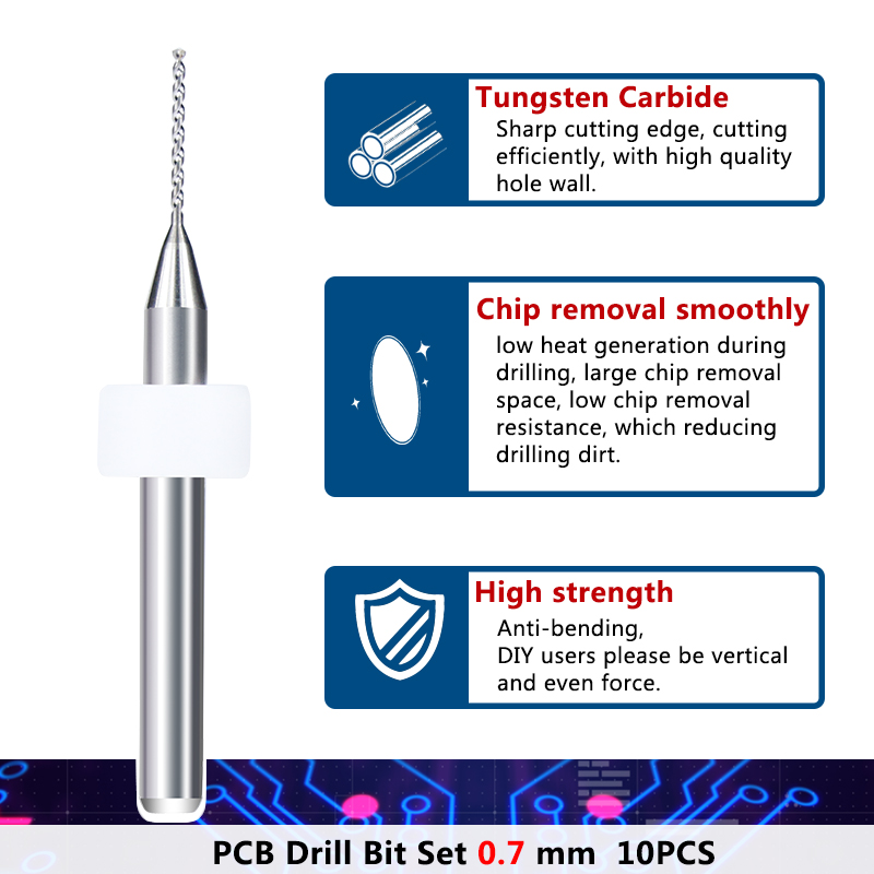 XCAN 10 vnt / rinkinys 0,7 mm Importuoti karbido PCB gręžimo - Grąžtas - Nuotrauka 4