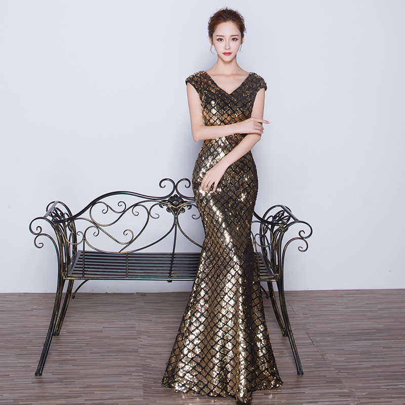 2020 Sale Vestido Cocktail Gengli Evening Dress 2020 New Banquet Sequin Slim Fishtail Long Host Sexy V-neck Autumn And Winter