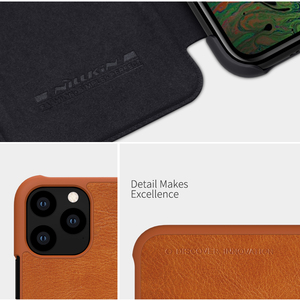 Image 4 - Caes for iPhone X Xs Max 7 8 Plus 12 Mini 11 Pro Max Nillkin Qin Series PU Leather Flip Cover For iPhone 11 Case
