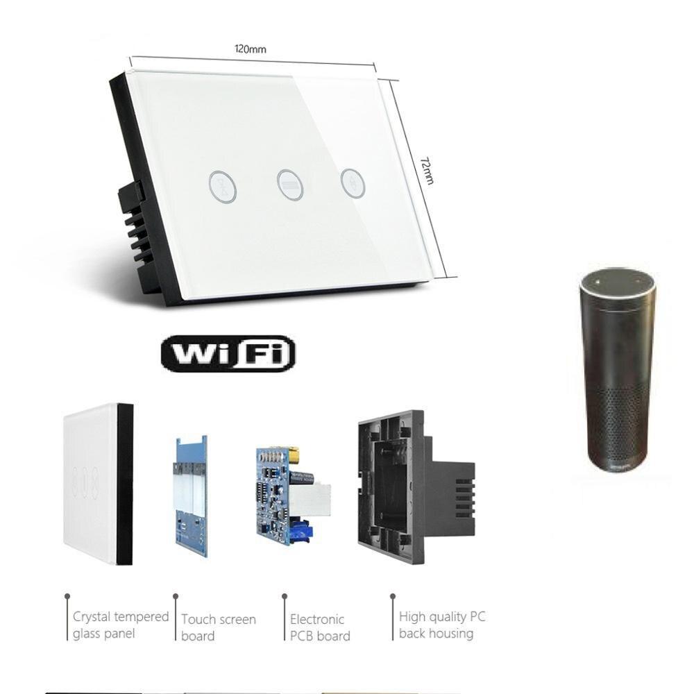 Vie intelligente WiFi stores rideau interrupteur commande vocale Mobile télécommande moteur tactile interrupteur panneau interrupteur intelligent