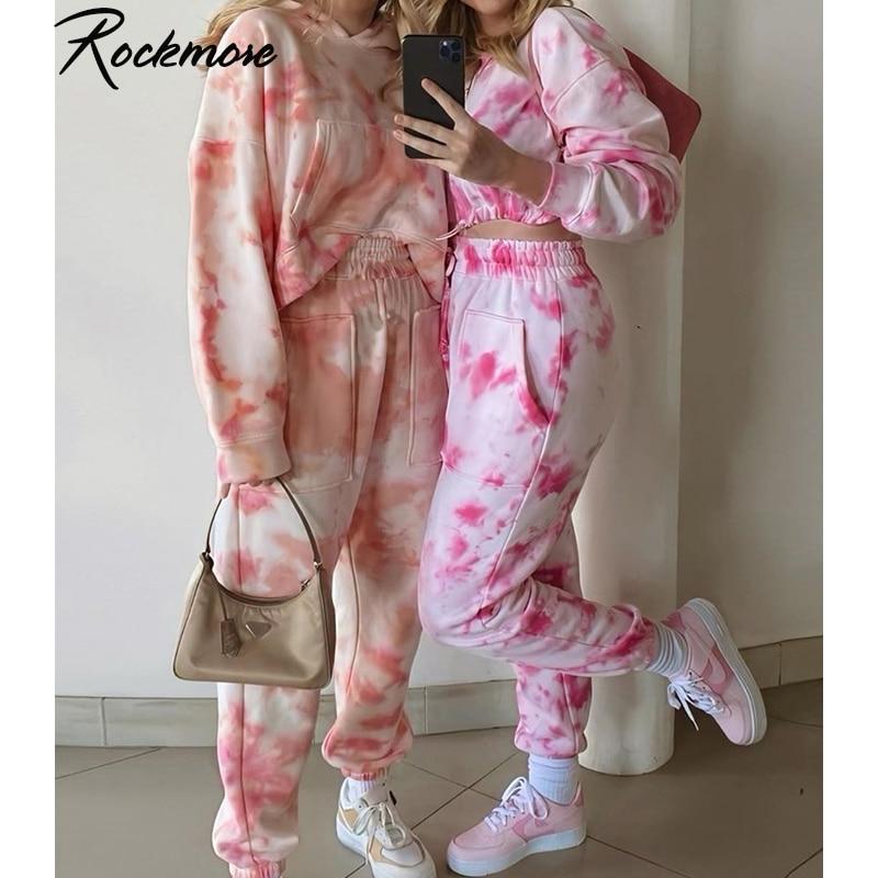 Rockmore Tie Dye Pencil Pants Plus Size Womens Streeetwear High Waisted Joggers Pink Harajuku Trousers Pockets Loose SweatPants