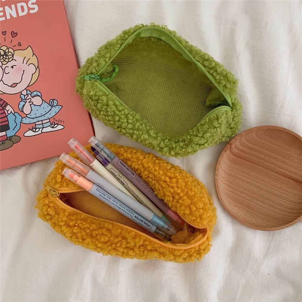 Bentoy Flannel Plush Soft Winter School Student Pencil Case Girls Pen Holder Bags Ins Sample Coin Purses