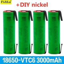 100% New VTC6 3.7V 3000 mAh 18650 Li-ion Rechargeable Battery VC18650VTC6 batteries + DIY Nickel Sheets