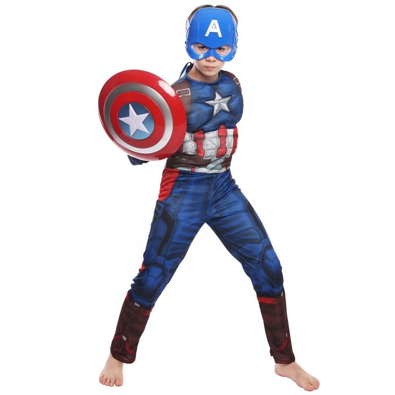 Superhero Captain America Fancy Costume Mask Shield Party Halloween Boy 5-6y 030
