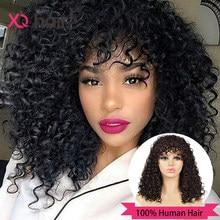 XQ короткий вьющийся боб парик с челкой волнистые человеческие волосы парики с челкой для чернокожих женщин бразильские волосы Remy влажный и ...