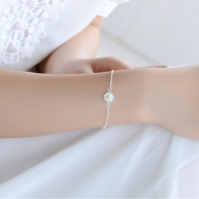 Браслет на ногу женский из серебра 925 пробы с цветком Маргаритки