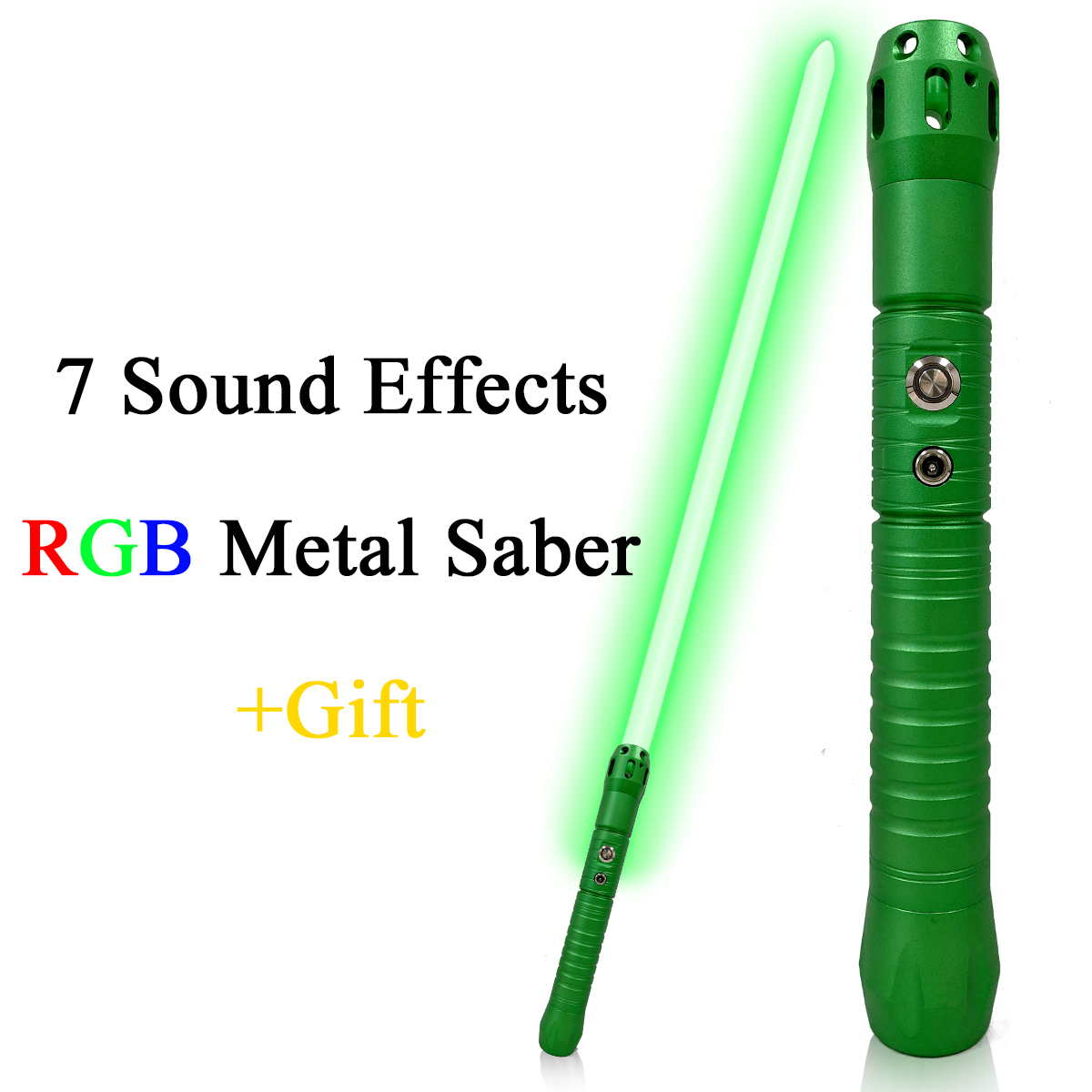 Original Movie Sound Effects Laser Sword Blaster Cosplay Toy Green Metal Handle Lightsaber Automatic Color Changing Light Saber