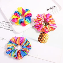 1PC Fashion Rainbow Print Women Hairband scrunchie Elastic Hair Bands hair accessories mujer Rope Ponytail Holder HeaddressF1011(China)