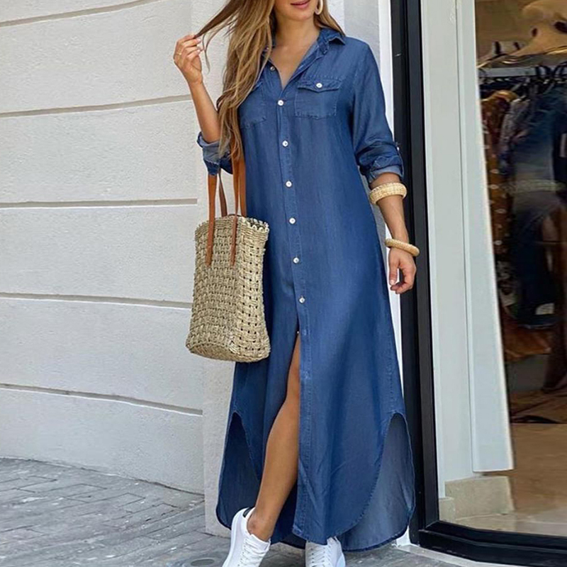 Slit Shirt Dress