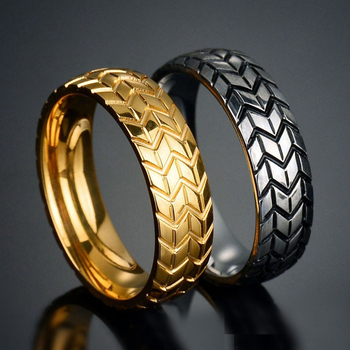 Gold Silver Color Stainless Steel Cool Motorcycle Tire Rings for Men Hip Hop Punk Biker Ring Geometric Striped Wedding Band Ring