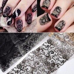 10 Sheet Black Lace Nail Art Foil Set Flower Floral Charm Nail Transfer Sticker Hollow Flower Sliders Decals Wraps Nail Art Deco