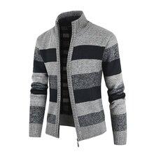 Sweater Men Zipper Matching Casual-Color Thick Winter Fashion Warm Collar Cardigan Men's