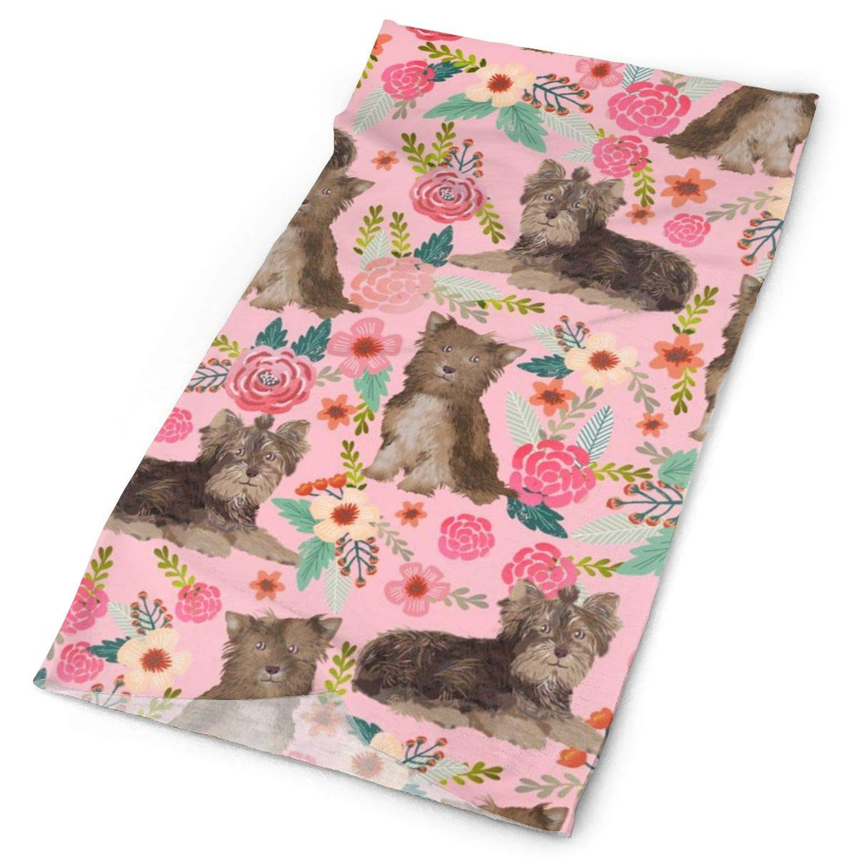 Chocolate Yorkie Fabric Vintage Florals Fabric Yorkshire Terrier Fabrics Cute Florals Fabric Headbands Bandana Cap Scarf Face
