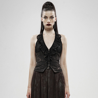 PUNKRAVE Women's Gothic Black Gold Dark Flower Hanging Neck Backless Lace Vest Sexy Lace Lotus Collar Party Dinner Prom Tank Top