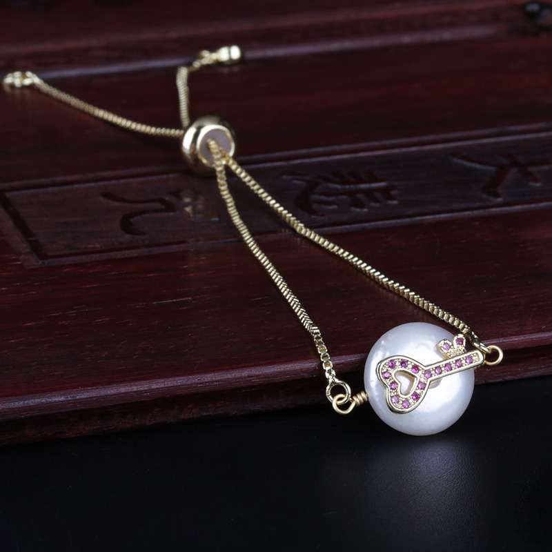 pave white clear cz crystal tiny key charm freshwater pearl bead charms dainty link bracelet for women wedding birthday gift(China)