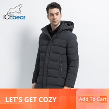 ICEbear 2019 Winter Coat Causal Parkas  Men Hat Detachable Warm Jacket Cotton Padded Clothing MWD18821D
