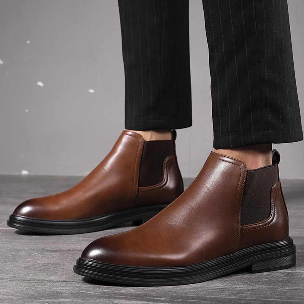 Männer Leder Winter Stiefel Mode Slip-Auf Westlichen Schnee Stiefel Lässig Bequeme Niedrigen absätzen Schuhe Warm Halten high-Top Anzug Schuhe