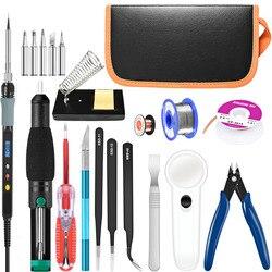 Handskit-soldador eléctrico de temperatura ajustable, herramientas de soporte, Kit de pistola para soldar, 220V/110V, 80W, 22 Uds.