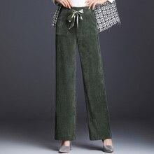 Вельветовые прямые брюки для женщин; большие размеры; Новая мода; сезон осень-весна; цвет черный, зеленый, бежевый, коричневый, красный; повседневные Капри для женщин; mel0905