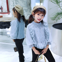 Blouses For Girls Lace Flower Shirts For Girl Mesh Lantern Sleeve Kids Blouse For Girls Fall Fashion Girls Winter Clothes flower lace panel blouse