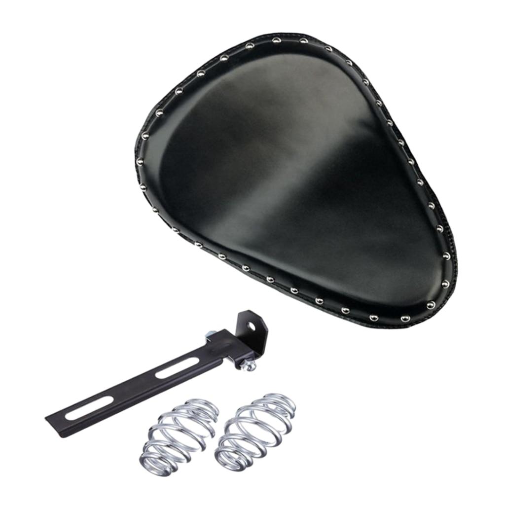 PU Leather Rivet Motorcycle Custom Solo Spring Bracket Seat KIT Universal